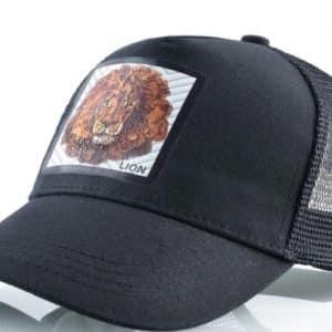הכובעים עם החיות דגם האריה השחור